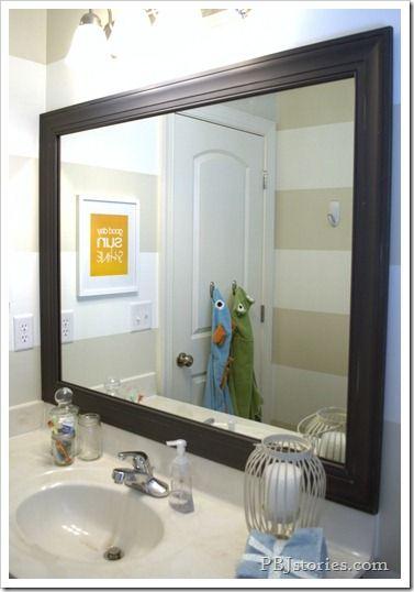 Bathroom Reveal Framed Mirror DIY home