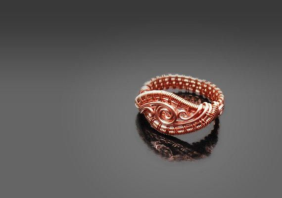 Wire wrapped ring, wire weave copper ring, spiral ring, size .