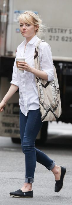 Emma Stone: Shirt – MiH Jeans  Purse – Twelfth St. by Cynthia Vincent  Sunglasses – Rag  Bone  Shoes – TOMS
