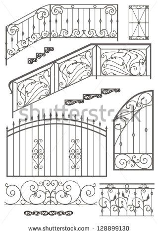 Vector set: wrought iron wicket, stairs railing, fence and window grilles  isolated on white background - stock vector