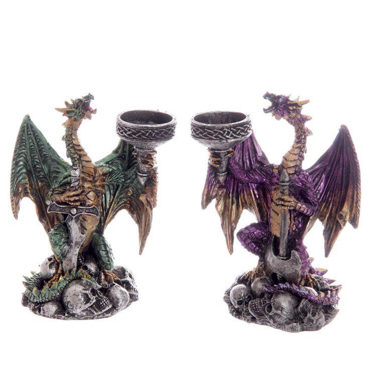 Gothic Dragon Warrior Candlesticks !FREE Fragranced Votive Candle!