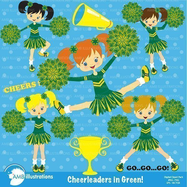 Green Cheerleaders clipart comes with cute cheerleader characters. 9 – 6 inch x 6 inch 300 cliparts. Cheerleaders, team sports, cheerleader cliparts, cheer clipart, school spirit clipart. High quality 300 dpi graphics are supplied [...]