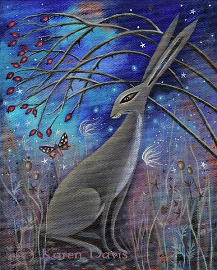 This is a print from an original acrylic painting on canvas by Artist/Illustrator Karen Davis.  Print measures 19 x 15.5 cms within an A4 sheet. Has a