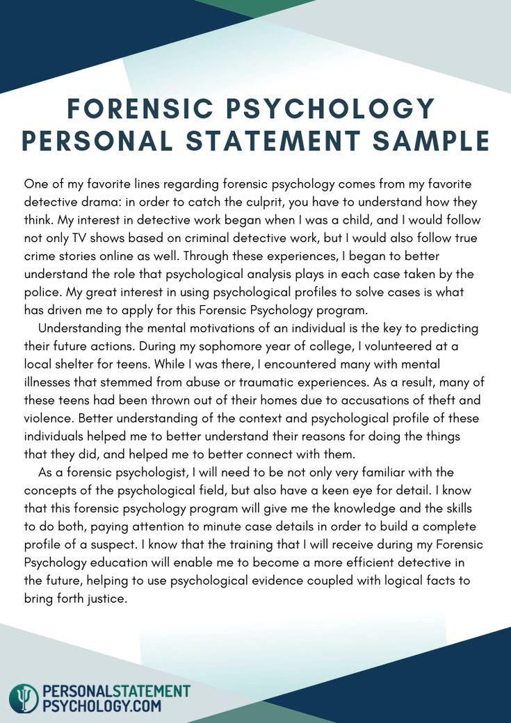 Forensic Psychology Personal Statement Sample Personal