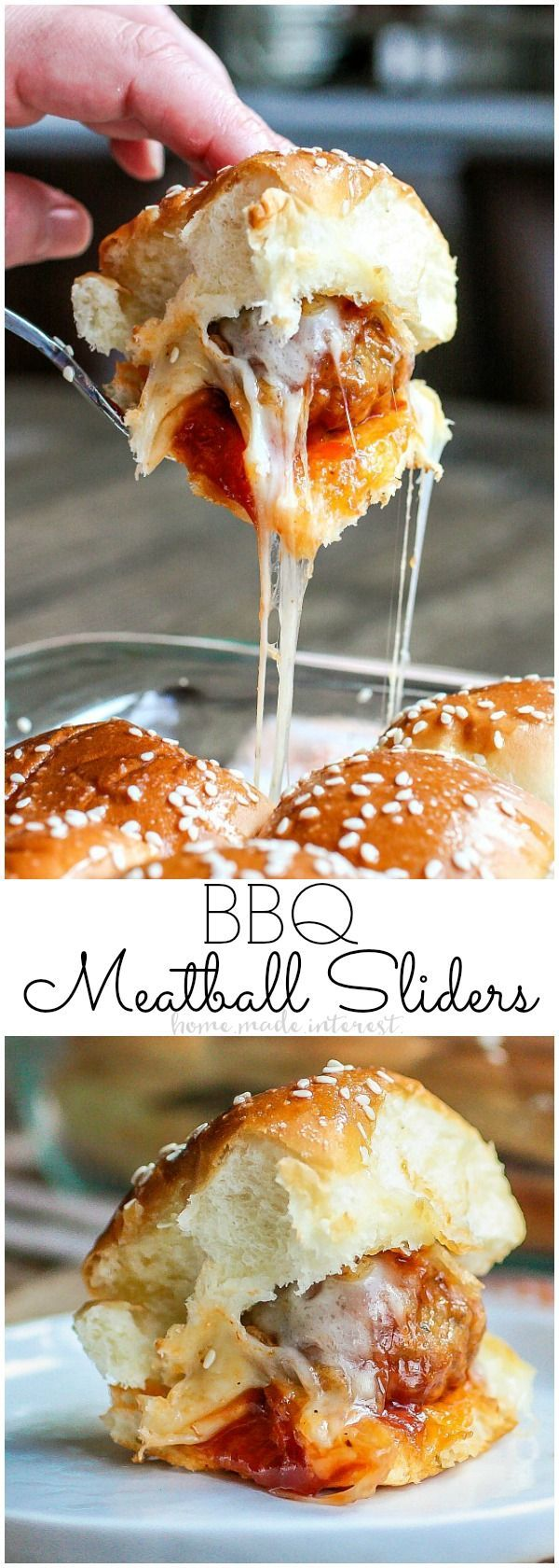 Sweet and tangy these easy BBQ Meatball Sliders are the ultimate game day appeti…