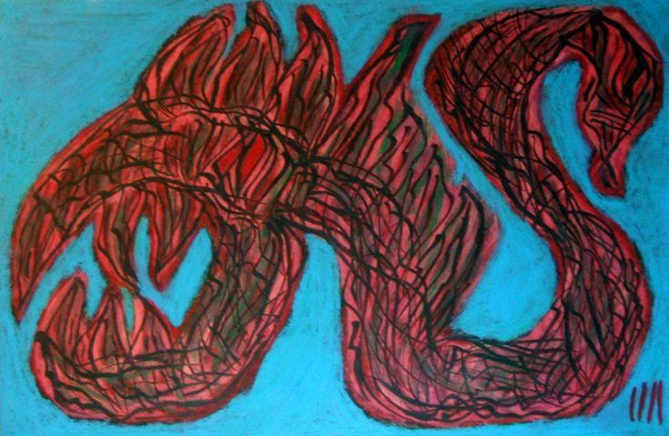 """""""Serpe infernale"""" 2014 Tecnica mista su cartoncino 38x58 ©Pietro Gargano"""