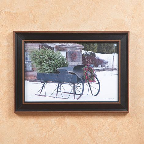 Christmas sleigh tree in country black frame