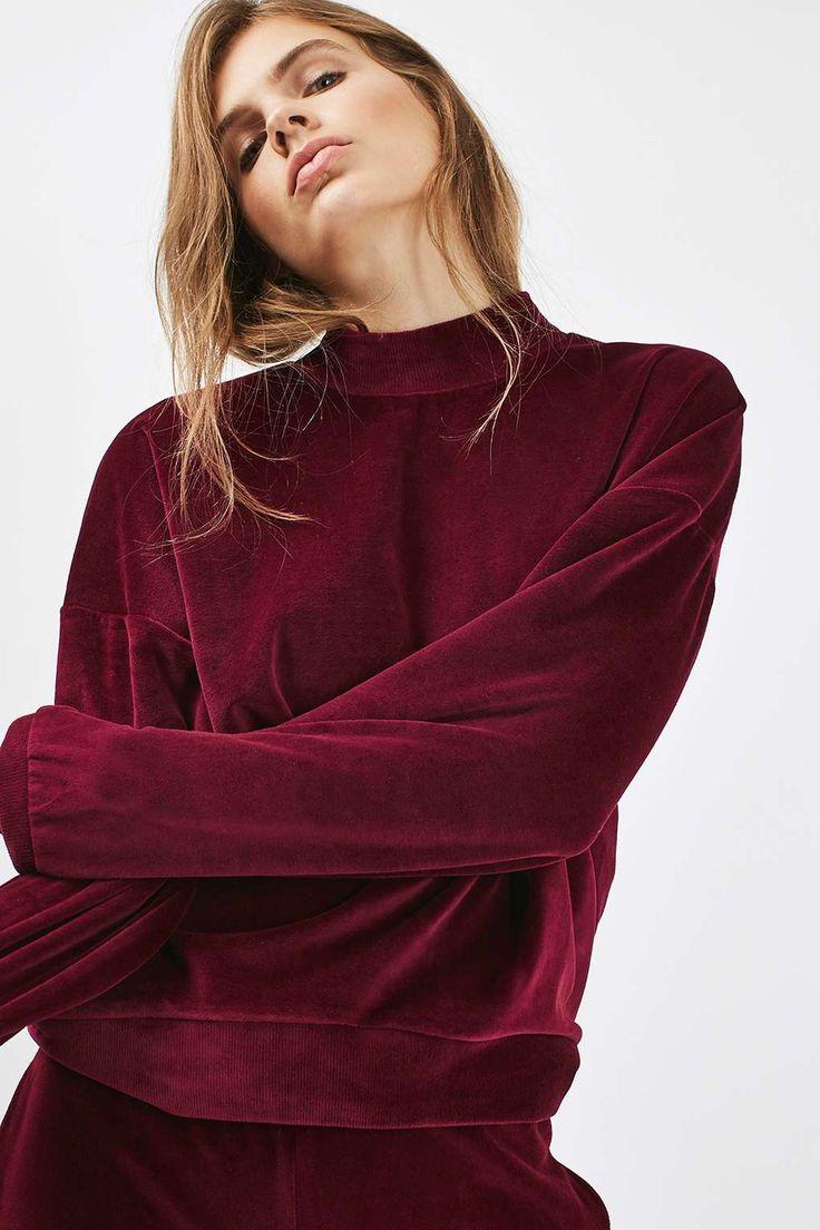 PETITE Velvet Batwing Sweatshirt