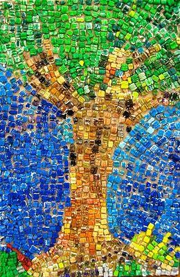 styrofoam peanut tree mosaic- Earth Day?