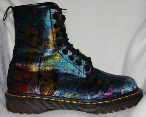 "Vintage ""Doc"" Dr. Martens (Docs) Painted Velvet 1460 8-laced Boots"