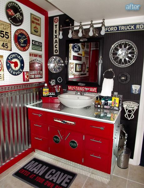 Ford Man Cave Decor : Better after in the auto zone man cave bathroom how