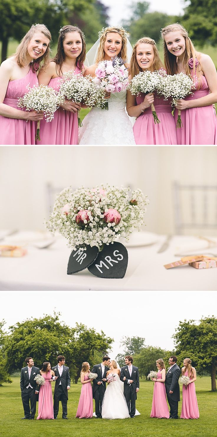 Church Wedding In Cambridge, Reception at Anstey Hall, Bride in Toscana by White One, With Dusky Pink Bridesmaids Gowns And Pink Peony Bouquet, Images by Albert Palmer Photography | Rock My Wedding