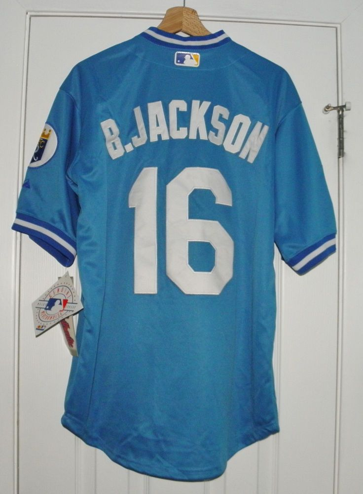 Bo Jackson  16 Kansas City Royals Powder Blue Throwback Jersey 40 NEW  Majestic  Majestic  KansasCityRoyals 35f7831f2