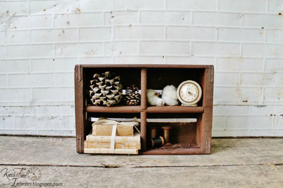Vintage wooden soda crate display shelf shadow box or for Wooden soda crate ideas