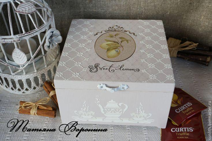 """Купить Чайный набор""""Sweet Lemon"""" - бледно-сиреневый, чайная коробка, чайная шкатулка, чайный короб"""