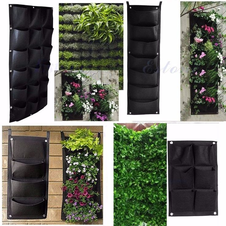 Details about 4 18 pockets wall garden hanging planting for Outside wall garden