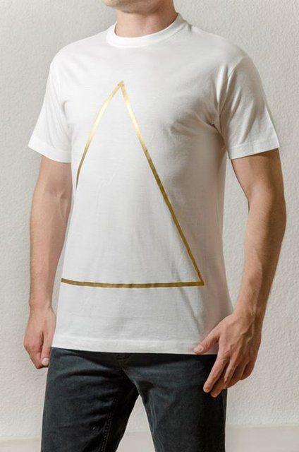 Cotton White T-Shirt Design : Golden Triangle