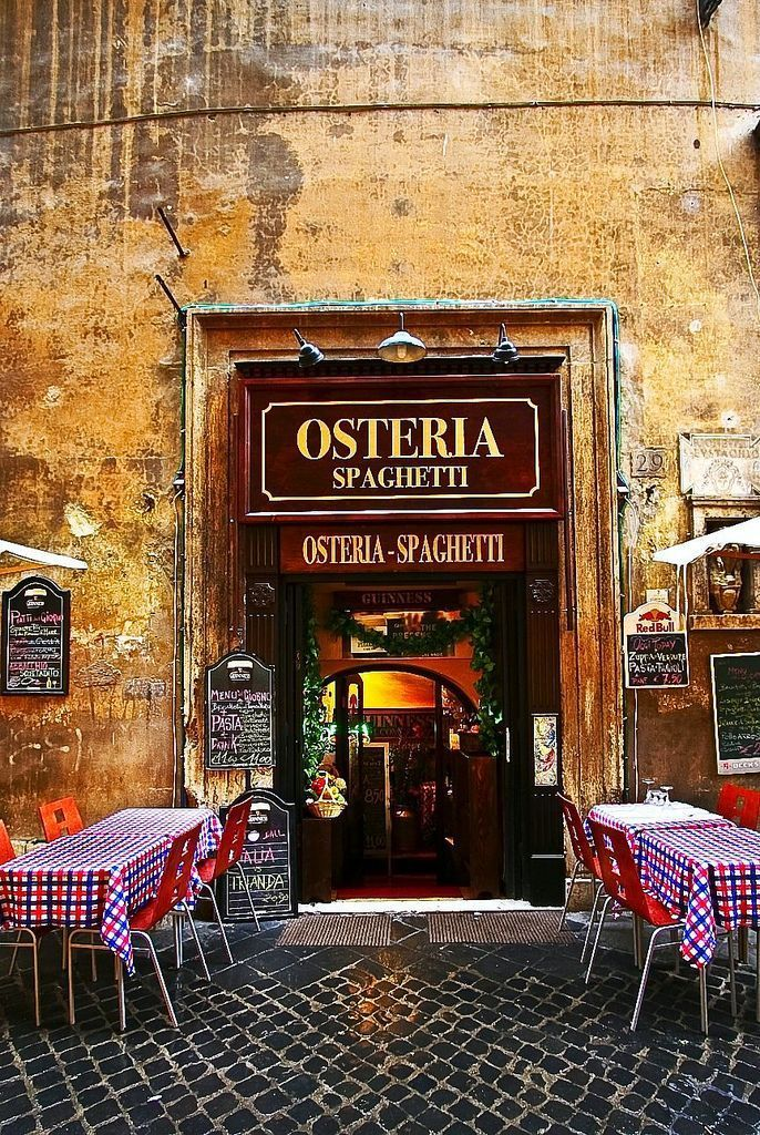 .entrance + outdoor tables, osteria, rome, italy | foodie travel + restaurants°°