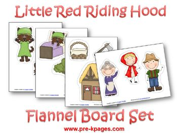 Free printable Little Red Riding Hood Flannel Board Set via www.pre-kpages.com