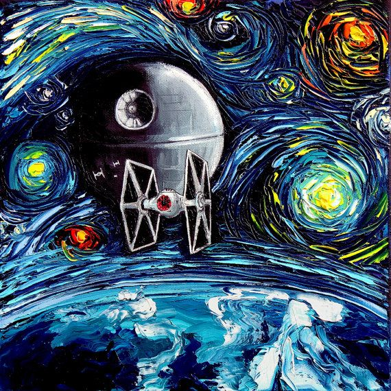 Star Wars - Death Star - Star Wars Art - Starry Night Giclee print van Gogh Never Saw The Empire Art by Aja 8x8 to 24x24 inches choose size