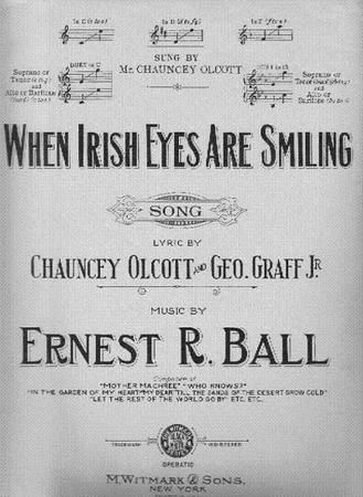 """""""When Irish Eyes Are Smiling"""" is a lighthearted song in tribute to Ireland. Its lyrics were written by Chauncey Olcott and George Graff, Jr., set to music composed by Ernest Ball, for Olcott's production of """"The Isle O' Dreams"""" and Olcott sang the song in the show. It was first published in 1912, at a time when songs in tribute to a romanticized Ireland were very numerous and popular both in Britain and the United States."""