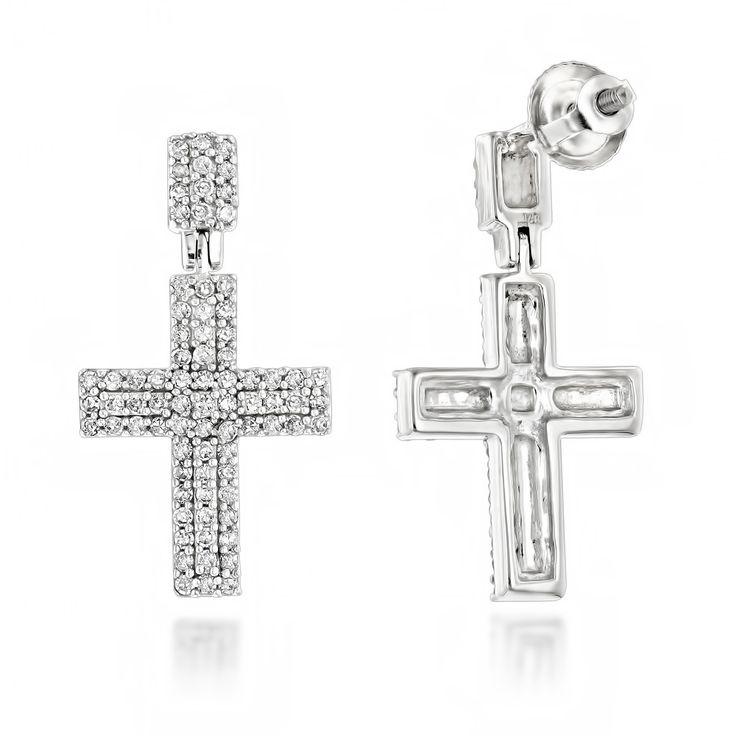 Luxurman 14k Gold 1/2ct TDW Gold Diamond Cross Earrings