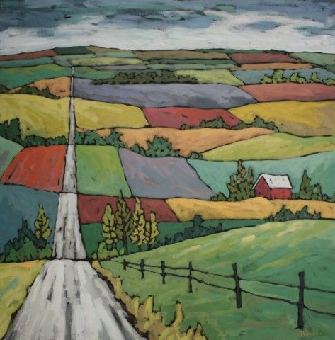 Valley Unfolds~ perspective project glue and chalk - love it for 4th grade - reminds me of VanGogh's tulip farm.