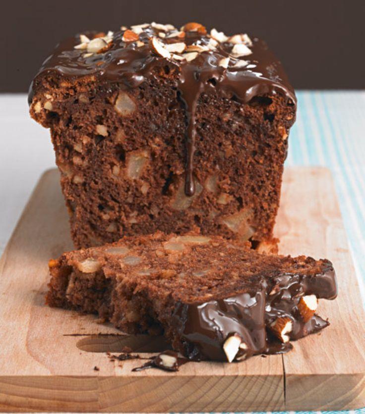 Schoko-Birnen-Kuchen: Das feinherbe Aroma der dunklen Schokolade wird durch die fruchtigen Birnen unterstrichen. Mandeln geben zusätzlich Biss!