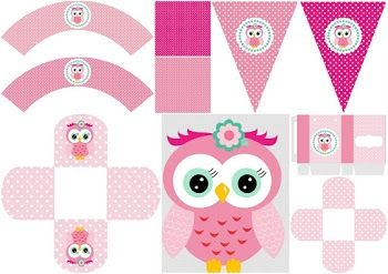 Pink Owl Quinceanera: Free Printable Boxes and Free Party Printables.