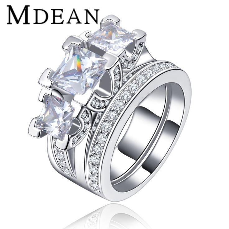 Wedding Ring sets White Gold Plated jewelry for women luxury party CZ diamond round fashion female bague bijoux MSR131 www.bernysjewels.com #bernysjewels #jewels #jewelry #nice #bags