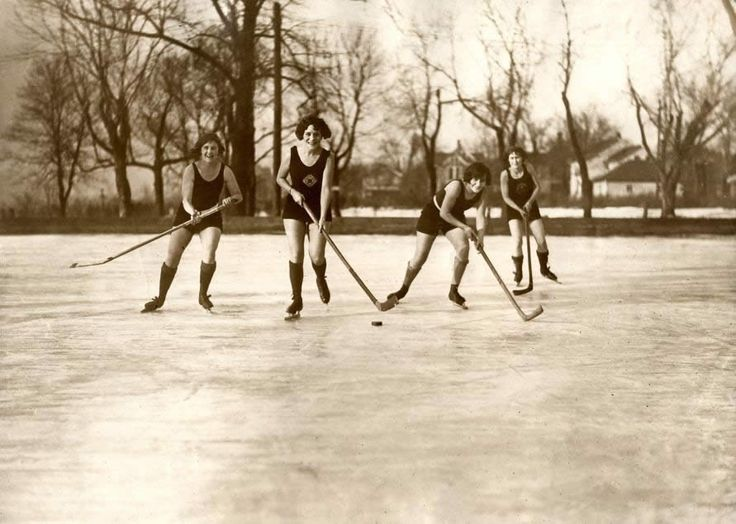 Women enjoying pond hockey in Minneapolis, 1925 (in shorts and tank tops-- they must be working up a sweat!)