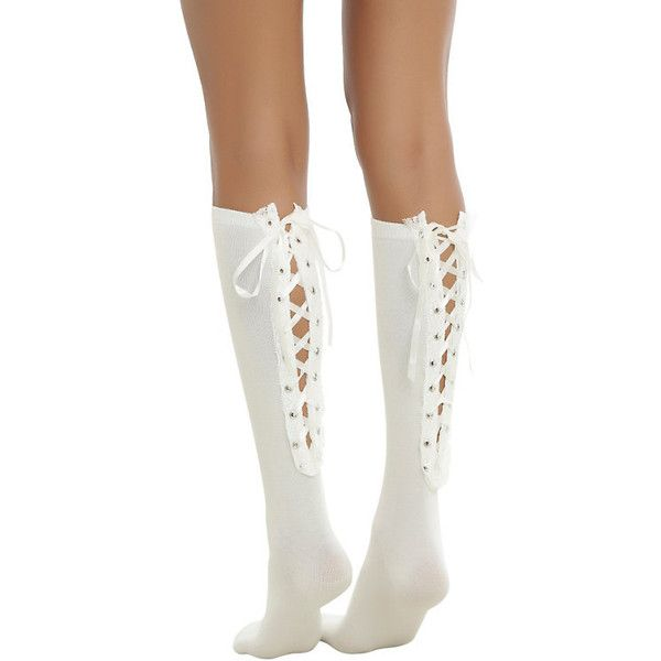 Blackheart Cream Lace-Up Knee-High Socks Hot Topic ($15) ❤ liked on Polyvore featuring intimates, hosiery, socks, knee hi socks, front lace corset, cream socks, lace up corset and knee high socks
