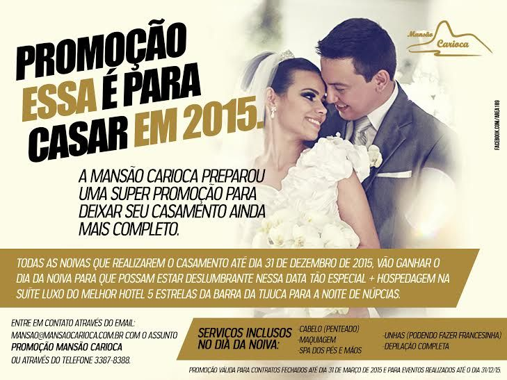 Atenção noivinhas que vão casar no Rio de Janeiro. Vocês já conhecem a Mansão Carioca...