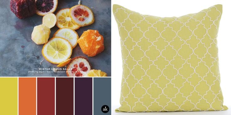 Citrus Salad colors - I love how colorful this palette is. Great poppy colors for the summer. Would look great in the living room.
