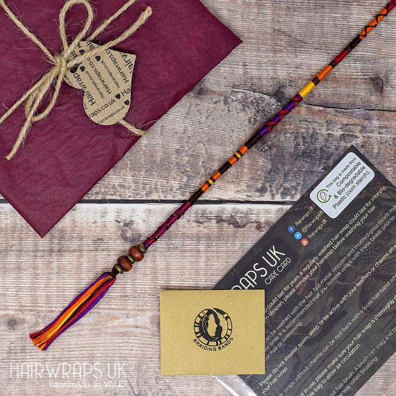DRUMMER GIRL hair wrap, Clip in Hairwraps, Holiday hair accessory, Fashion hair accessories, Indian Hair Jewellery, Vegan Hair jewelry.  Warm shades of brown and burnt orange, with a hint of red and purple, and just a touch of brown shimmer thread to add depth. With wooden beads and metal