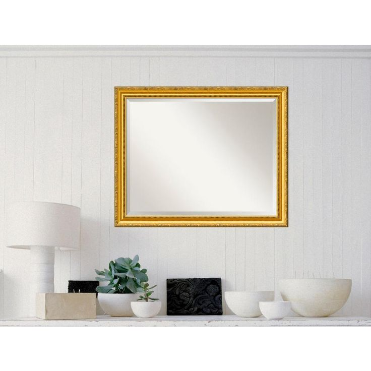Colonial Embossed Gold Wood 32 in. W x 26 in. H Traditional Framed Mirror