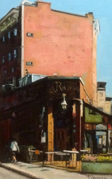 "The Riviera is referred to as a ""local cafe"" in Tally: An Intuitive Life, about an elderly Bohemian and the young people who were his friends. This image is by Joe McIntyre_Study for Riviera, Cafe.Bar, Greenwich Village, New York_Oils_13.5x8.5 l Scottish Contemporary Art"