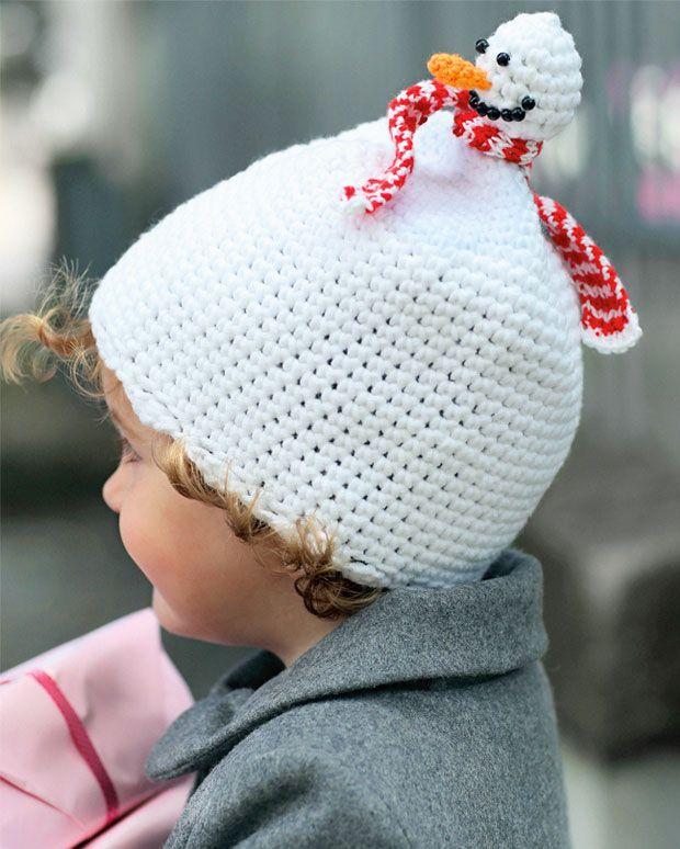 Skøn humor i en kold tid! Sød hæklet snemandshue.