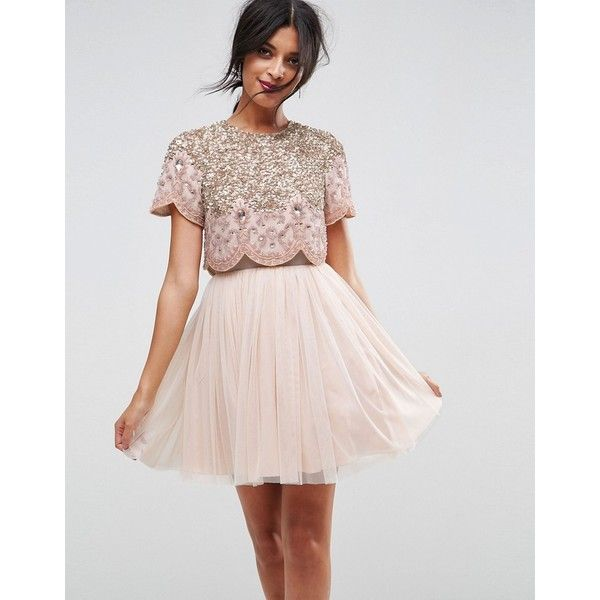 ASOS Heavily Embellished Tulle Mini Prom Dress ($135) ❤ liked on Polyvore featuring dresses, beige, pink prom dresses, cocktail party dress, sequin prom dresses, pink party dress and party dresses