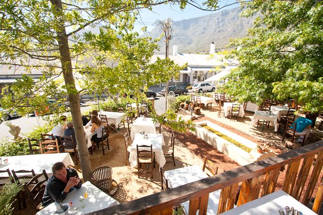 Café Paradiso Undoubtedly one of the best eateries for outdoor eating in the city bowl. The little garden has front-row seats for a view of Table Mountain, making it family friendly too. Some dishes are better than others, but do try the slow-roasted lamb salad.