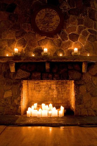 candles cozy fire winter candles on fireplace: since we boarded up the top of the main chimney to keep heat from escaping, I guess I will fill the large fire pit with candles!!