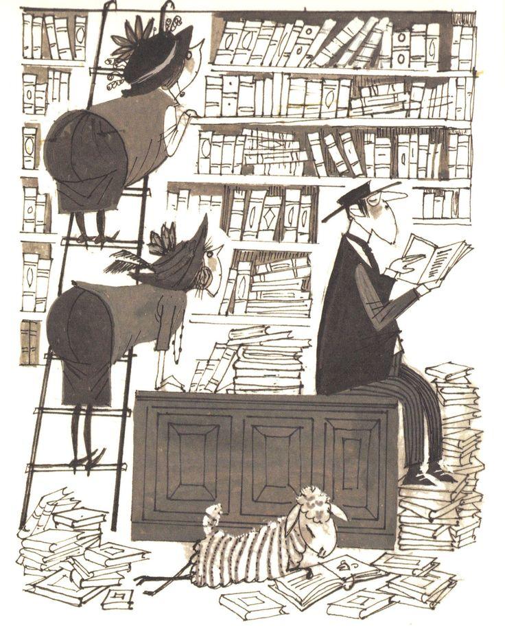 De dames Groen, de dominee en het schaap Veronica lezen graag! uit: Het hele schaap Veronica, Annie MG Schmidt met tekeningen van Fiep Westendorp