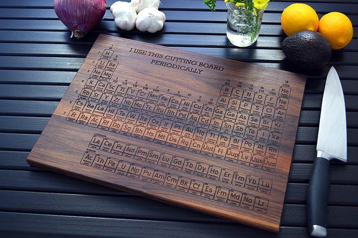 Custom geekery periodic table engraved wood cutting board 12x16 - Periodic table chopping board ...