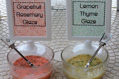 donut glaze recipes- grapefruit rosemary glaze and lemon thyme glaze | kojodesigns