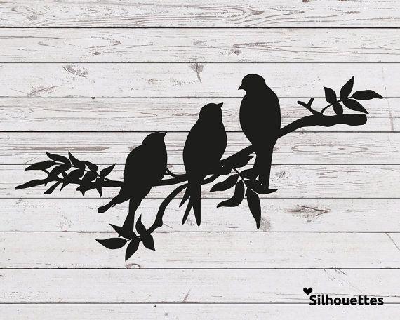 Svg 3 Vogel Auf Einem Ast Silhouette Vektordatei Fur Cricut Und Silhouette Kam Cricut Einem Silhoue Vogel Silhouette Silhouette Cameo Kunstproduktion