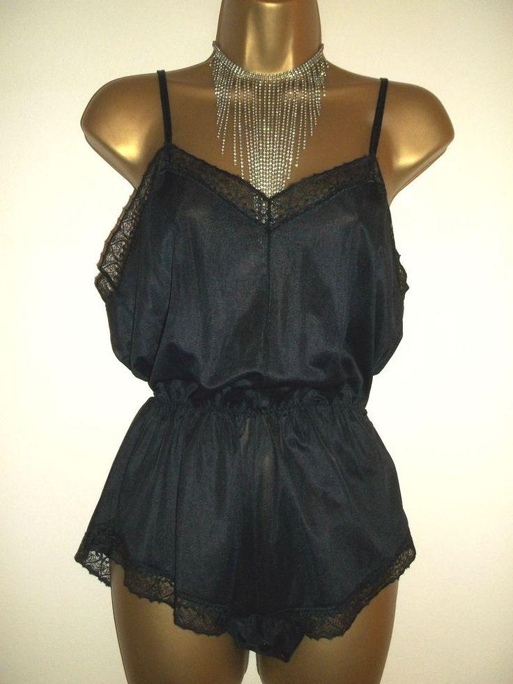Vintage 80s Jet Black Nylon Beautiful Fine Lace Body Teddie Playsuit UK 12-14