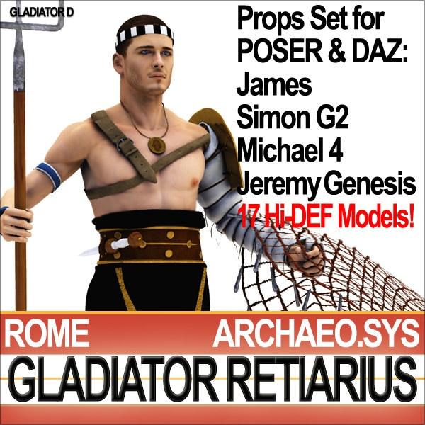 3d ancient rome gladiator retiarius - Roman Gladiator Retiarius Props Poser Daz by SmartCGArt