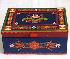 painted wooden box hungarian design