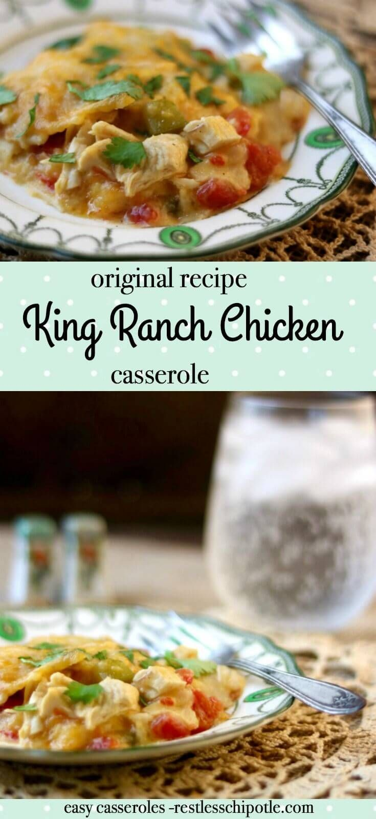Original King Ranch Chicken casserole is quick, easy, and family friendly! It's perfect for busy weeknights - freezes well, too! From RestlessChipotle.com via @Marye at Restless Chipotle