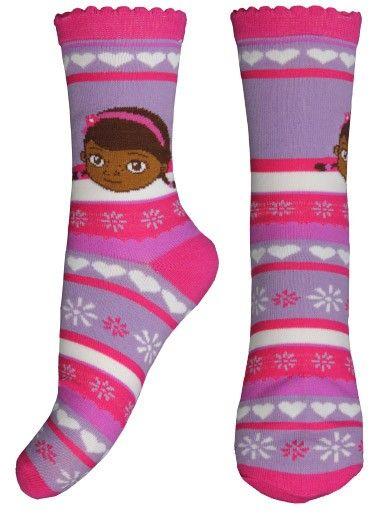 E plus M Dívčí vzorované ponožky Doktorka Plyšáková - fialové